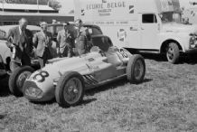 TALBOT LAGO Ecurie National Belge with truck Silverstone paddock 1950 British GP